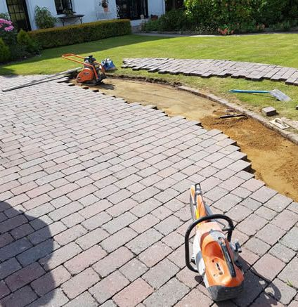 recent project for block paving in bournemouth - image shows a patio during design