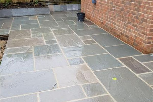 more landscaping in West Parley - image shows garden patio we installed